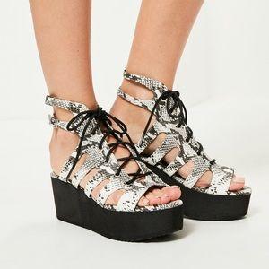 NWOT Black Snakeskin Platform Sandals